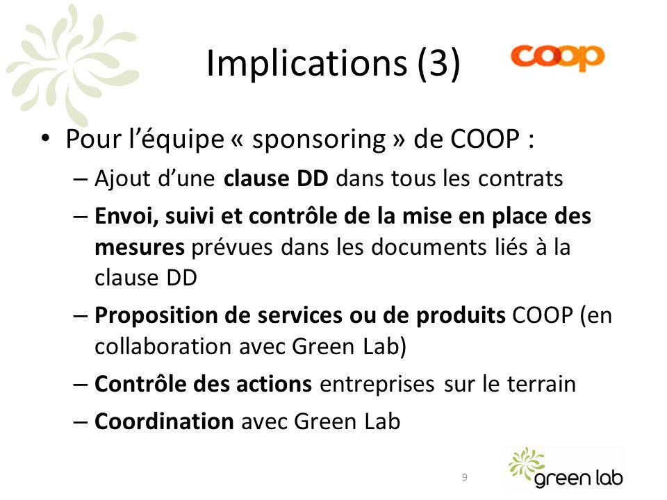 Implications (4) Implication pour Green Lab – Information aux organisateurs dévénement – Formation des teams internes – Contrôle des actions – Reporting annuel final – Communication 10