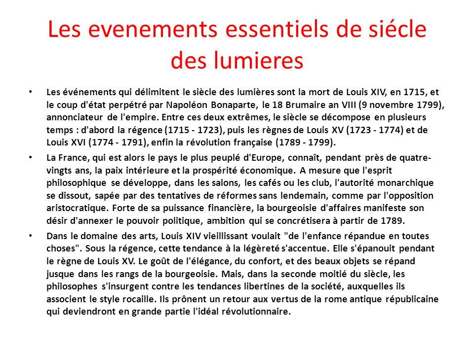 Les evenements essentiels de siécle des lumieres Les événements qui délimitent le siècle des lumières sont la mort de Louis XIV, en 1715, et le coup d état perpétré par Napoléon Bonaparte, le 18 Brumaire an VIII (9 novembre 1799), annonciateur de l empire.