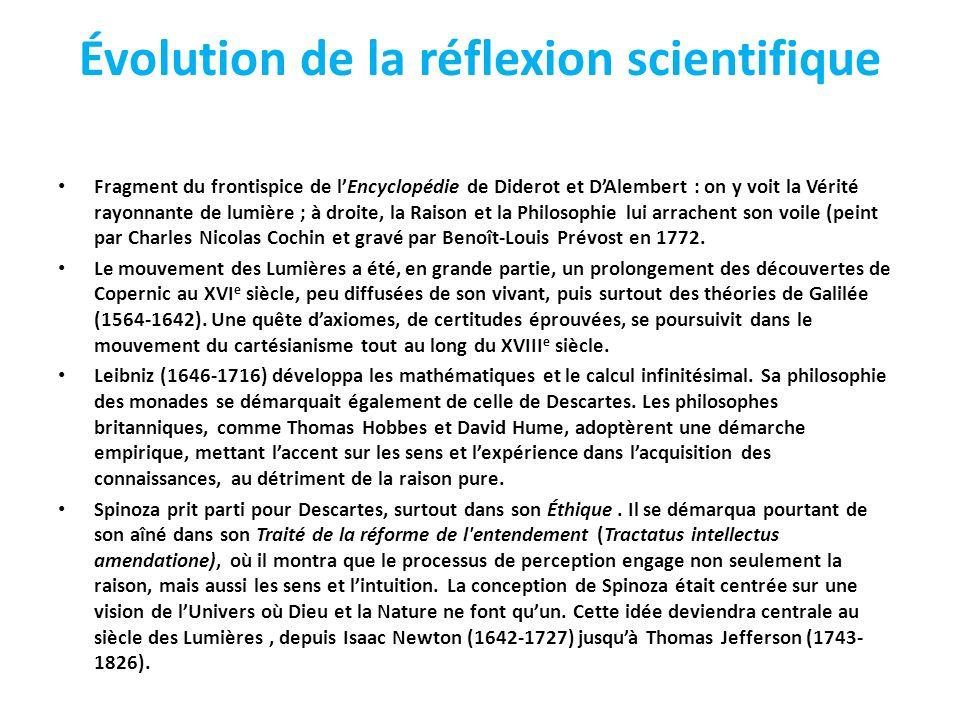 Évolution de la réflexion scientifique Fragment du frontispice de lEncyclopédie de Diderot et DAlembert : on y voit la Vérité rayonnante de lumière ; à droite, la Raison et la Philosophie lui arrachent son voile (peint par Charles Nicolas Cochin et gravé par Benoît-Louis Prévost en 1772.