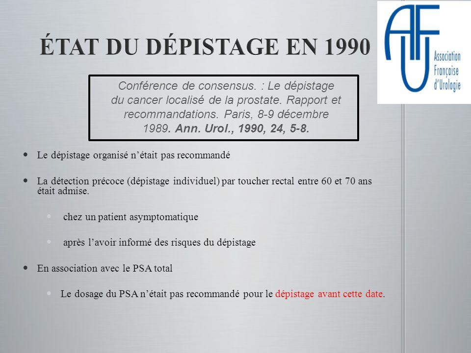 1993 1993 Aux USA: préconise le dépistage par TR et PSA (1fois/an) Aux USA: préconise le dépistage par TR et PSA (1fois/an) A partir de 50 ans et si espérance de vie >10 ans A partir de 50 ans et si espérance de vie >10 ans A partir de 40 ans si facteurs de risque A partir de 40 ans si facteurs de risque 1999 1999 Pas de dépistage de masse, en France Pas de dépistage de masse, en France « Il semble indispensable de conduire une réflexion complémentaire sur linformation au patient et sur lopportunité dun dépistage individuel par la bonne prescription du dosage du PSA » « Il semble indispensable de conduire une réflexion complémentaire sur linformation au patient et sur lopportunité dun dépistage individuel par la bonne prescription du dosage du PSA »
