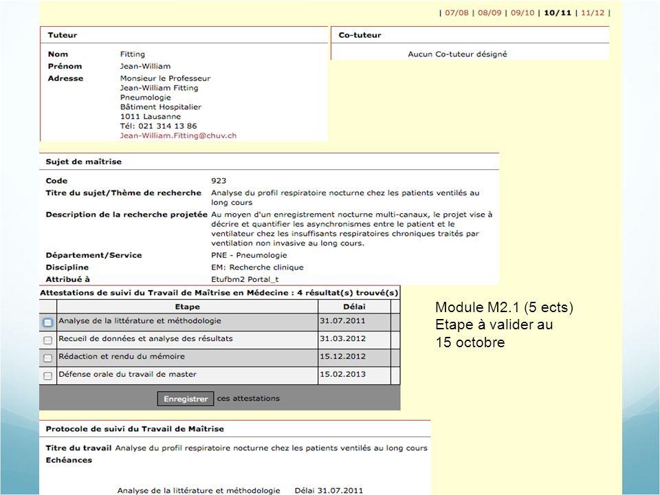 Module M2.1 (5 ects) Etape à valider au 15 octobre