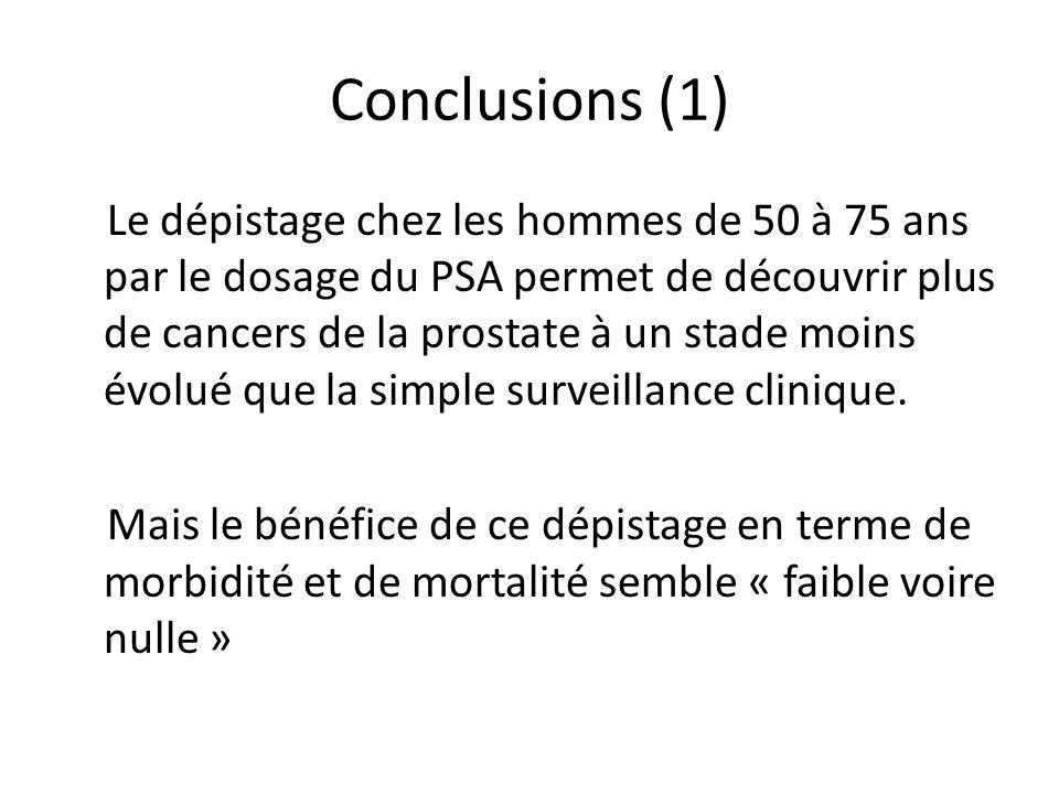 Conclusions (1) Le dépistage chez les hommes de 50 à 75 ans par le dosage du PSA permet de découvrir plus de cancers de la prostate à un stade moins é