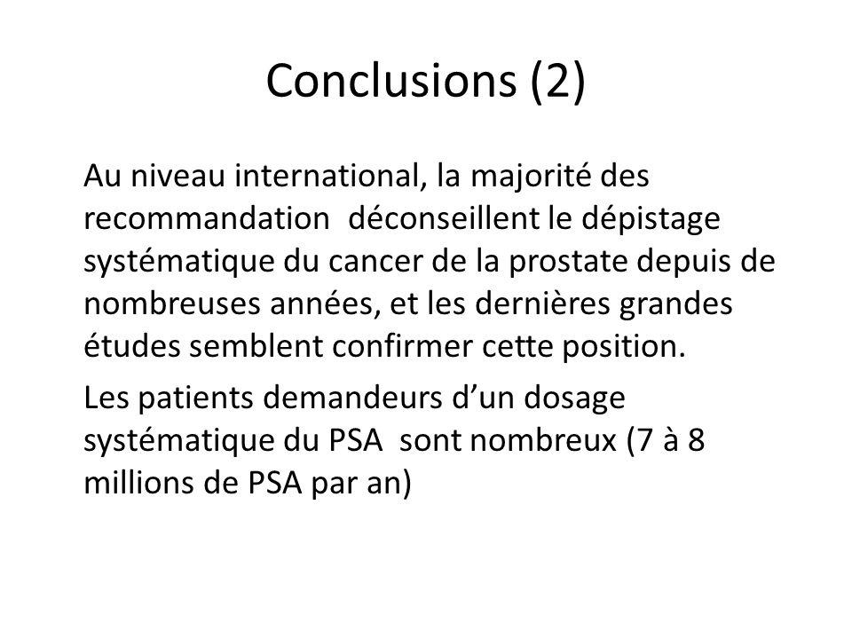 Conclusions (2) Au niveau international, la majorité des recommandation déconseillent le dépistage systématique du cancer de la prostate depuis de nom