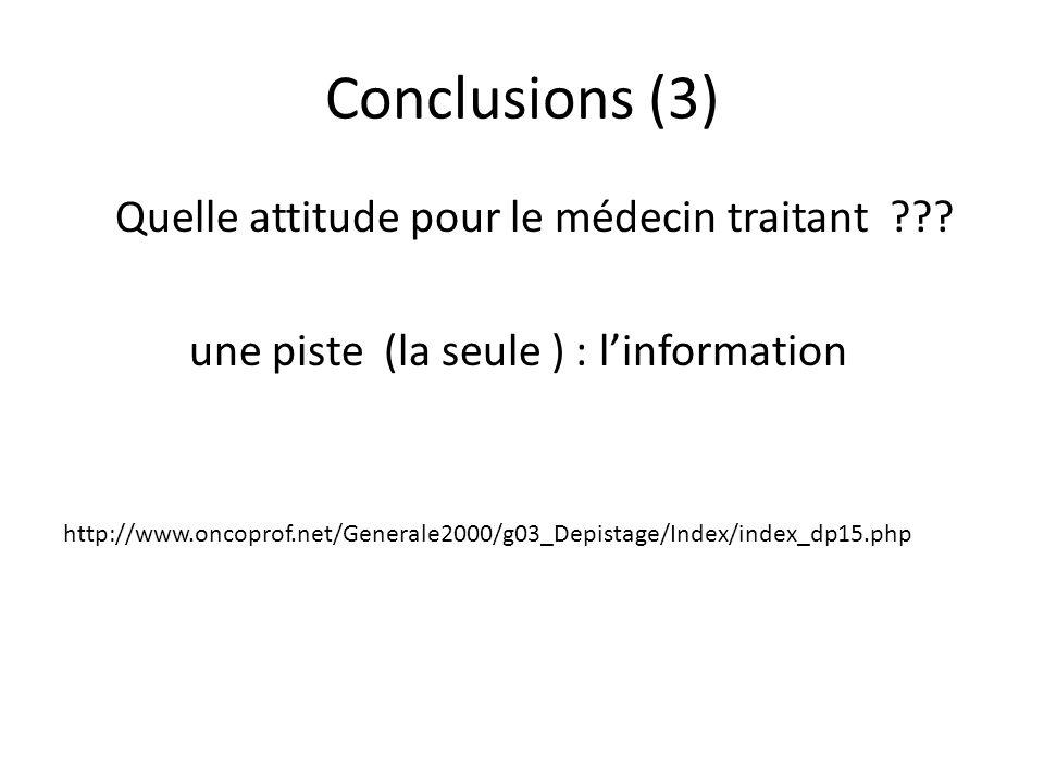Conclusions (3) Quelle attitude pour le médecin traitant ??? une piste (la seule ) : linformation http://www.oncoprof.net/Generale2000/g03_Depistage/I