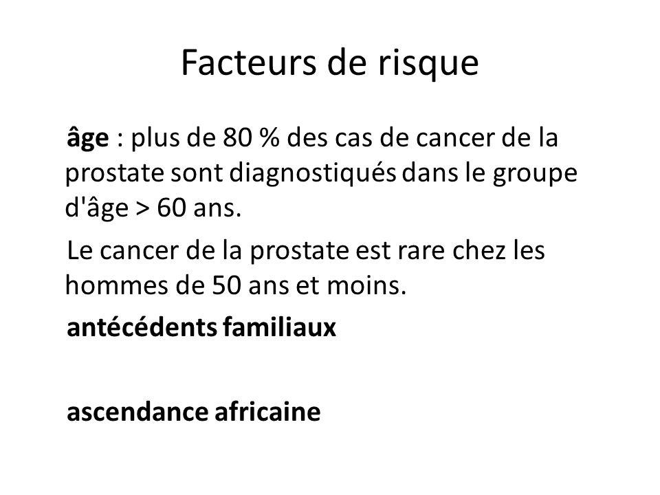 Facteurs de risque âge : plus de 80 % des cas de cancer de la prostate sont diagnostiqués dans le groupe d'âge > 60 ans. Le cancer de la prostate est