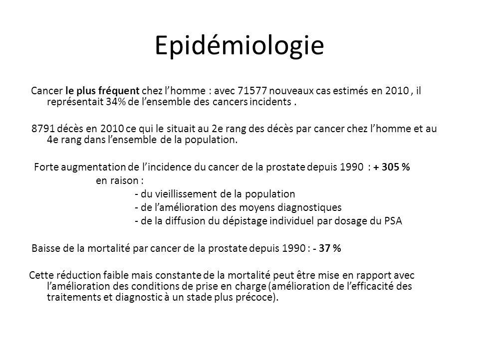 Epidémiologie Cancer le plus fréquent chez lhomme : avec 71577 nouveaux cas estimés en 2010, il représentait 34% de lensemble des cancers incidents. 8