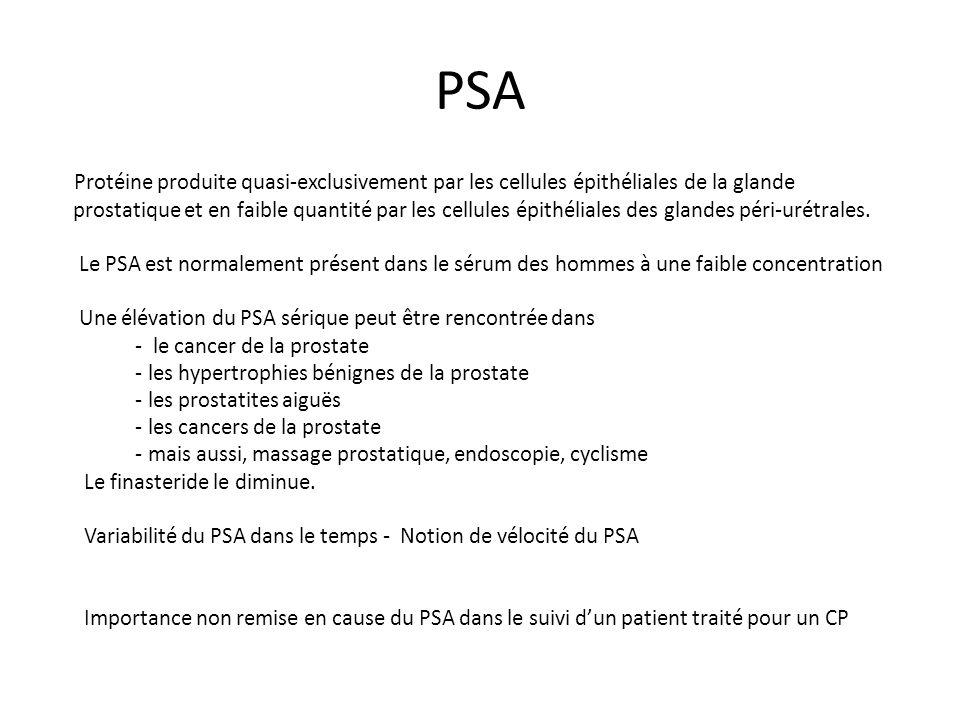 PSA Protéine produite quasi-exclusivement par les cellules épithéliales de la glande prostatique et en faible quantité par les cellules épithéliales d
