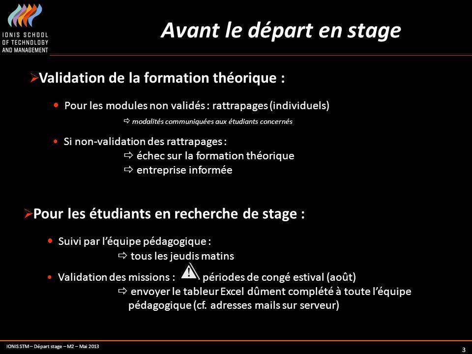 IONIS STM – Départ stage – M2 – Mai 2013 3 Avant le départ en stage Validation de la formation théorique : Pour les modules non validés : rattrapages