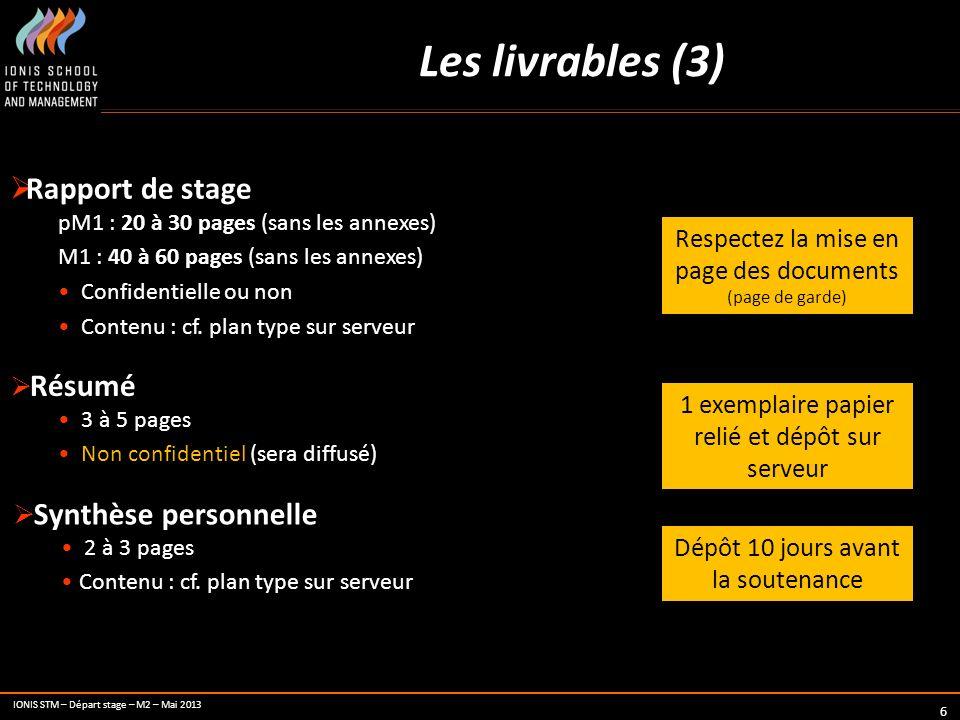 IONIS STM – Départ stage – M2 – Mai 2013 6 Les livrables (3) Rapport de stage pM1 : 20 à 30 pages (sans les annexes) M1 : 40 à 60 pages (sans les anne