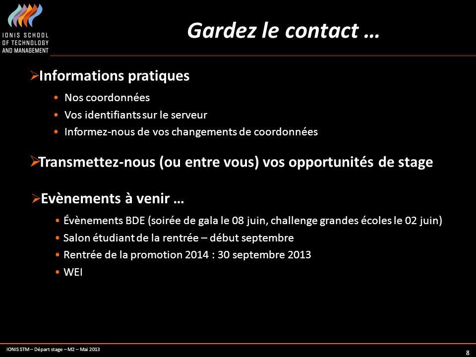 IONIS STM – Départ stage – M2 – Mai 2013 8 Gardez le contact … Informations pratiques Nos coordonnées Vos identifiants sur le serveur Informez-nous de