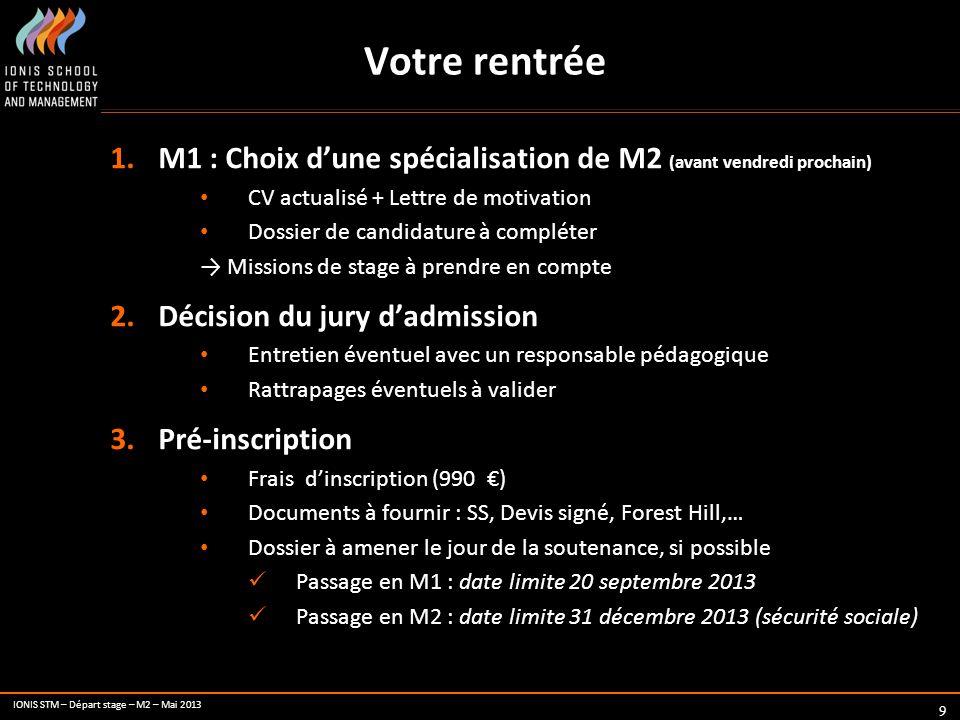 IONIS STM – Départ stage – M2 – Mai 2013 10 Documents 1.