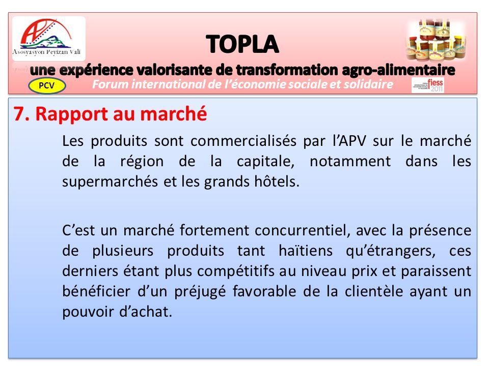 7. Rapport au marché Les produits sont commercialisés par lAPV sur le marché de la région de la capitale, notamment dans les supermarchés et les grand