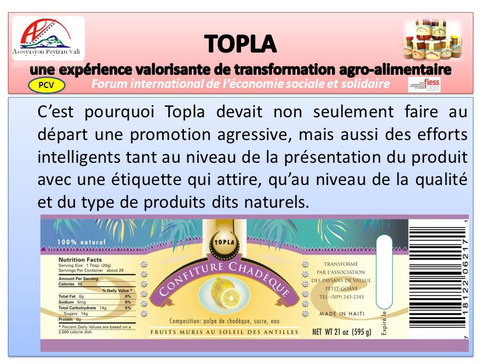 Cest pourquoi Topla devait non seulement faire au départ une promotion agressive, mais aussi des efforts intelligents tant au niveau de la présentation du produit avec une étiquette qui attire, quau niveau de la qualité et du type de produits dits naturels.
