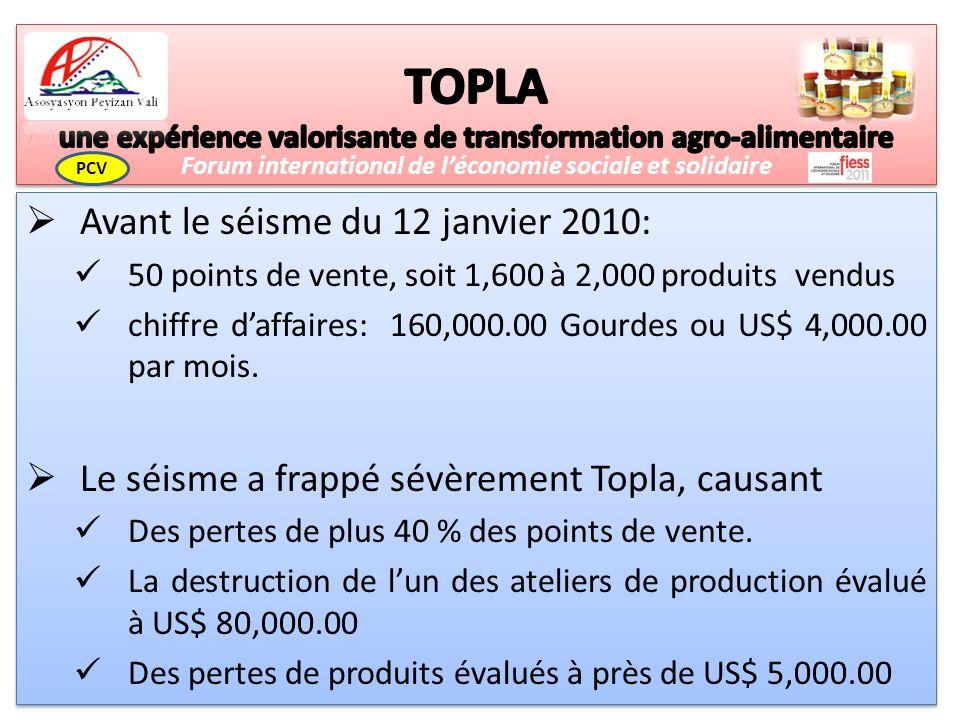 Avant le séisme du 12 janvier 2010: 50 points de vente, soit 1,600 à 2,000 produits vendus chiffre daffaires: 160,000.00 Gourdes ou US$ 4,000.00 par mois.