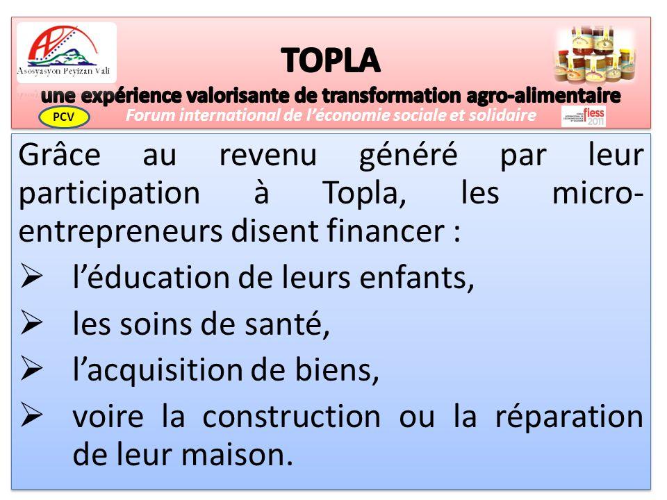 Grâce au revenu généré par leur participation à Topla, les micro- entrepreneurs disent financer : léducation de leurs enfants, les soins de santé, lacquisition de biens, voire la construction ou la réparation de leur maison.