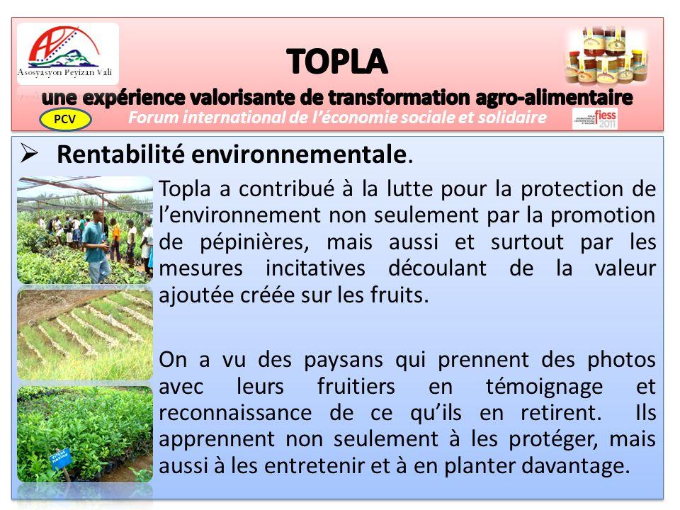 Rentabilité environnementale.