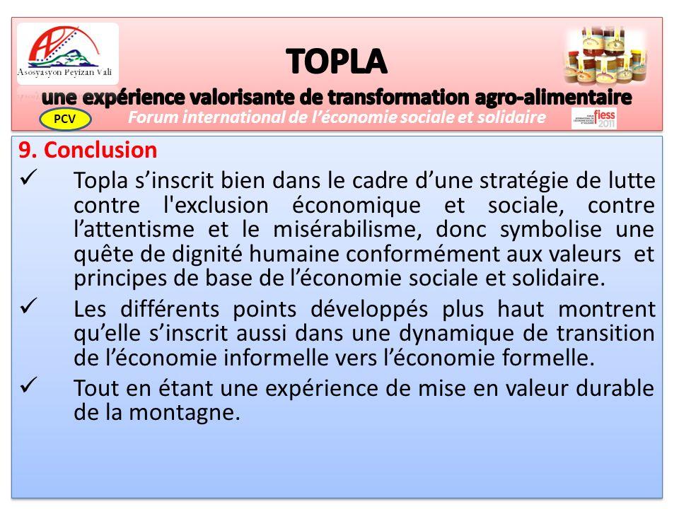 9. Conclusion Topla sinscrit bien dans le cadre dune stratégie de lutte contre l'exclusion économique et sociale, contre lattentisme et le misérabilis