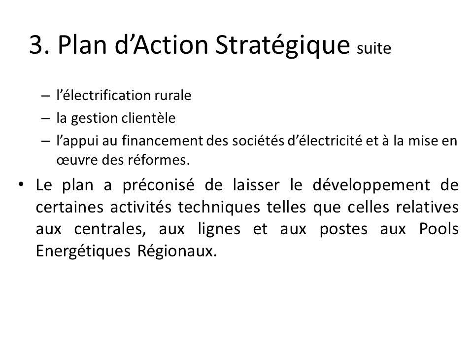 3. Plan dAction Stratégique suite – lélectrification rurale – la gestion clientèle – lappui au financement des sociétés délectricité et à la mise en œ