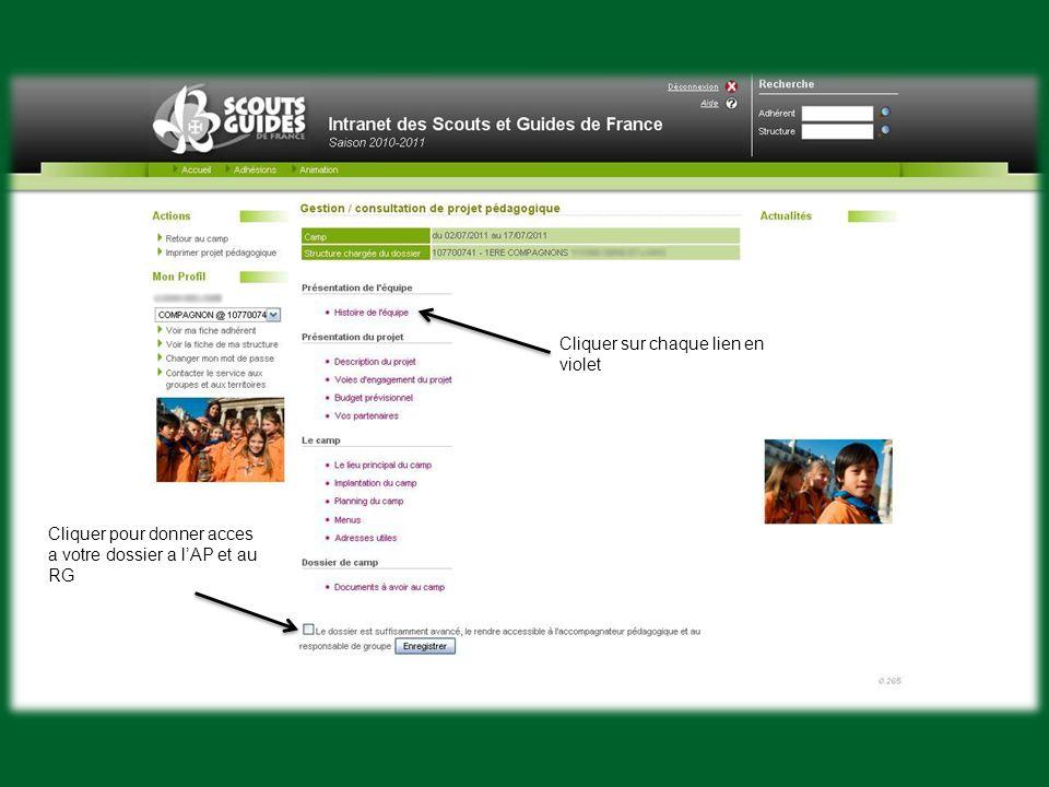 Cliquer sur chaque lien en violet Cliquer pour donner acces a votre dossier a lAP et au RG