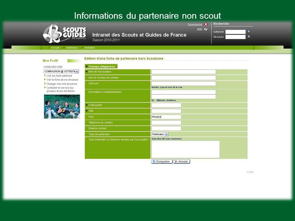 Informations du partenaire non scout