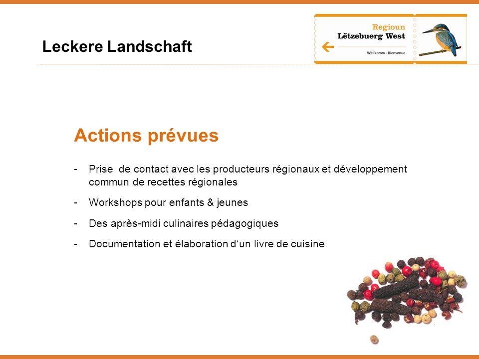 Leckere Landschaft Actions prévues -Prise de contact avec les producteurs régionaux et développement commun de recettes régionales -Workshops pour enfants & jeunes -Des après-midi culinaires pédagogiques -Documentation et élaboration dun livre de cuisine