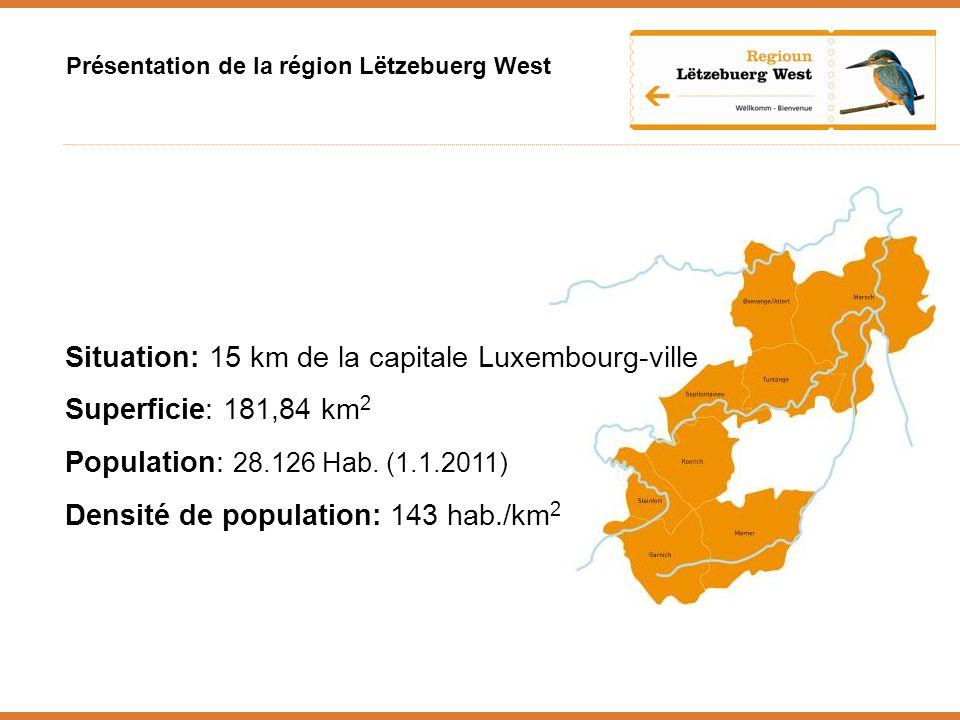 Présentation de la région Lëtzebuerg West Situation: 15 km de la capitale Luxembourg-ville Superficie: 181,84 km 2 Population: 28.126 Hab.