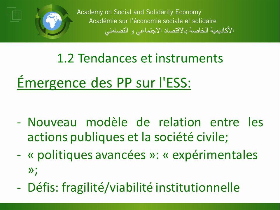 1.2 Tendances et instruments Émergence des PP sur l ESS: -Nouveau modèle de relation entre les actions publiques et la société civile; -« politiques avancées »: « expérimentales »; -Défis: fragilité/viabilité institutionnelle