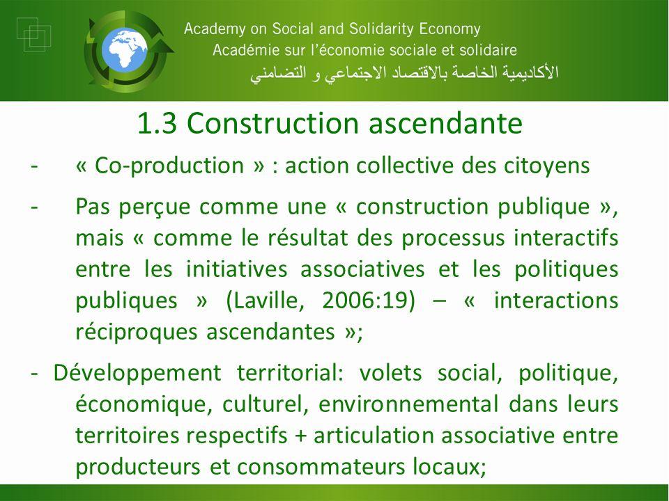 1.3 Construction ascendante -« Co-production » : action collective des citoyens -Pas perçue comme une « construction publique », mais « comme le résultat des processus interactifs entre les initiatives associatives et les politiques publiques » (Laville, 2006:19) – « interactions réciproques ascendantes »; - Développement territorial: volets social, politique, économique, culturel, environnemental dans leurs territoires respectifs + articulation associative entre producteurs et consommateurs locaux;