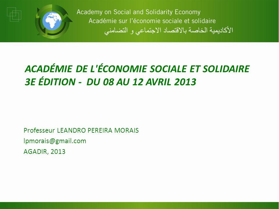 ACADÉMIE DE L ÉCONOMIE SOCIALE ET SOLIDAIRE 3E ÉDITION - DU 08 AU 12 AVRIL 2013 Professeur LEANDRO PEREIRA MORAIS lpmorais@gmail.com AGADIR, 2013