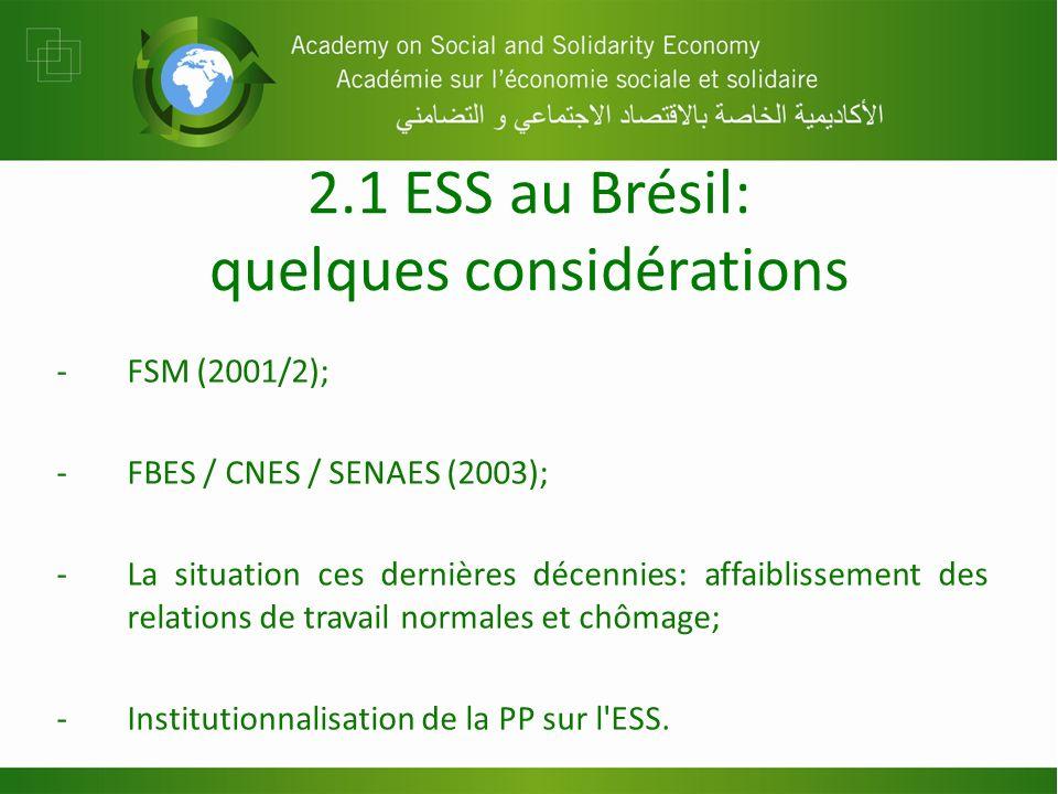 2.1 ESS au Brésil: quelques considérations -FSM (2001/2); -FBES / CNES / SENAES (2003); -La situation ces dernières décennies: affaiblissement des relations de travail normales et chômage; -Institutionnalisation de la PP sur l ESS.