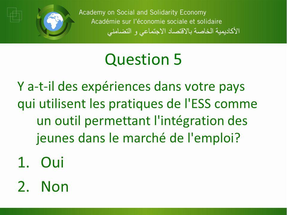 Question 5 Y a-t-il des expériences dans votre pays qui utilisent les pratiques de l ESS comme un outil permettant l intégration des jeunes dans le marché de l emploi.