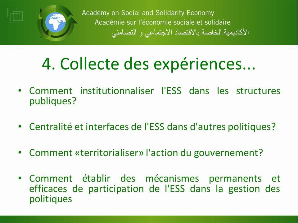 4. Collecte des expériences... Comment institutionnaliser l ESS dans les structures publiques.