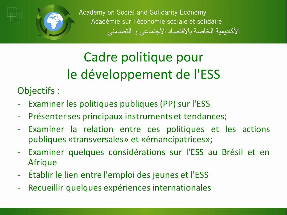 Cadre politique pour le développement de l ESS Objectifs : -Examiner les politiques publiques (PP) sur l ESS -Présenter ses principaux instruments et tendances; -Examiner la relation entre ces politiques et les actions publiques «transversales» et «émancipatrices»; -Examiner quelques considérations sur l ESS au Brésil et en Afrique -Établir le lien entre l emploi des jeunes et l ESS -Recueillir quelques expériences internationales