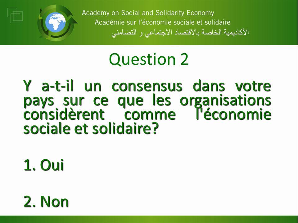 Question 2 Y a-t-il un consensus dans votre pays sur ce que les organisations considèrent comme l économie sociale et solidaire.