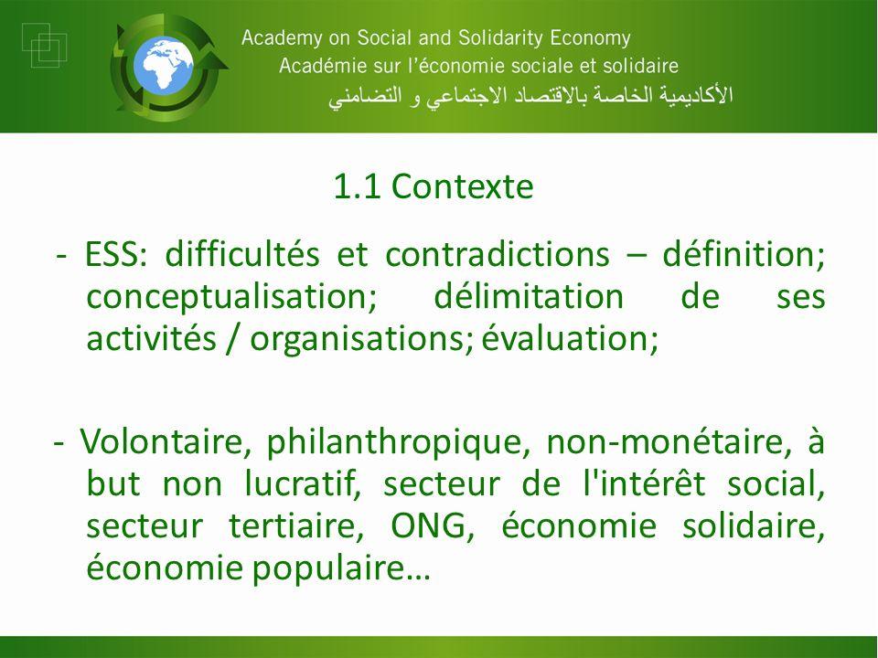 1.1 Contexte - ESS: difficultés et contradictions – définition; conceptualisation; délimitation de ses activités / organisations; évaluation; - Volontaire, philanthropique, non-monétaire, à but non lucratif, secteur de l intérêt social, secteur tertiaire, ONG, économie solidaire, économie populaire…