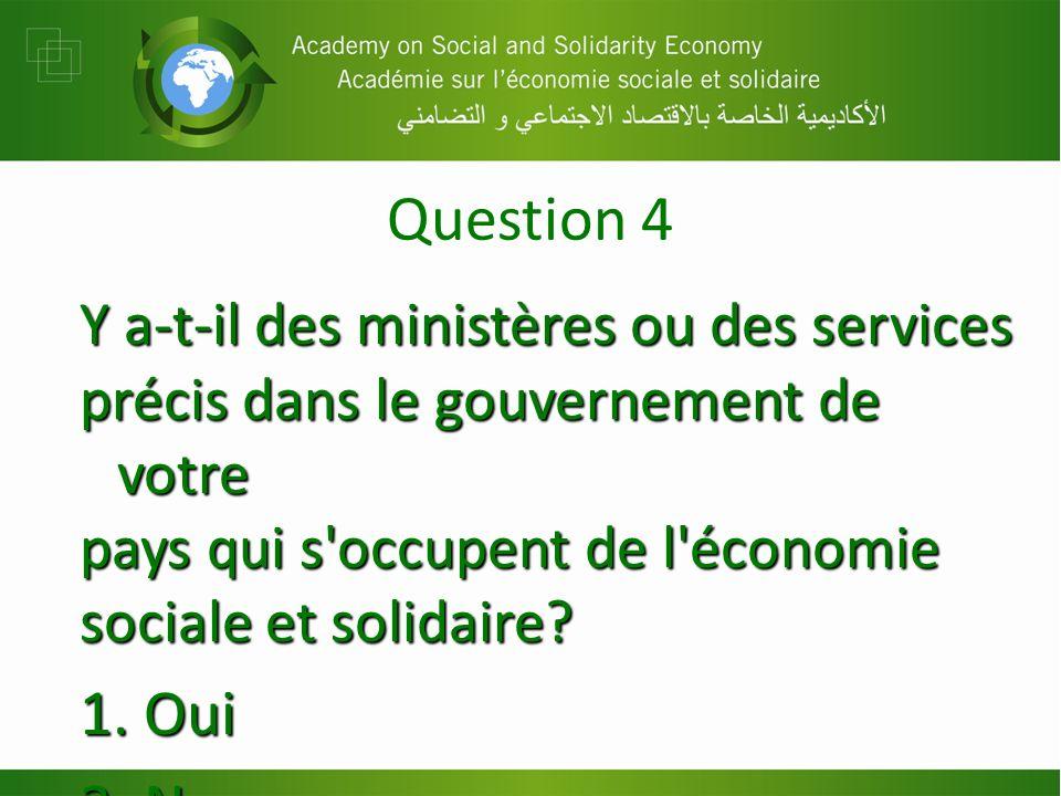 Question 4 Y a-t-il des ministères ou des services précis dans le gouvernement de votre pays qui s occupent de l économie sociale et solidaire.