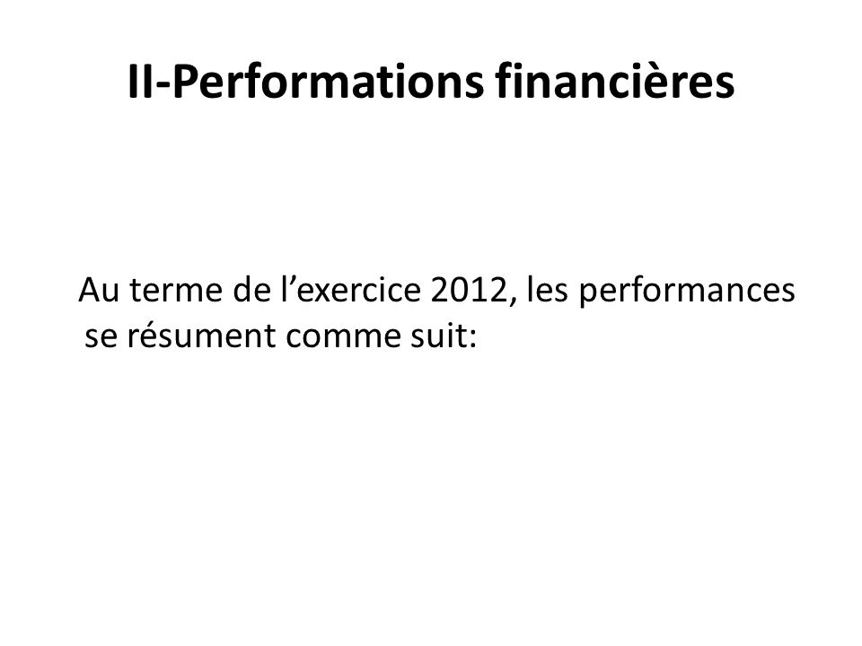 II-Performations financières Au terme de lexercice 2012, les performances se résument comme suit: