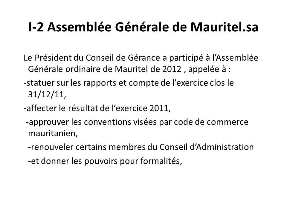 I-2 Assemblée Générale de Mauritel.sa Le Président du Conseil de Gérance a participé à lAssemblée Générale ordinaire de Mauritel de 2012, appelée à : -statuer sur les rapports et compte de lexercice clos le 31/12/11, -affecter le résultat de lexercice 2011, -approuver les conventions visées par code de commerce mauritanien, -renouveler certains membres du Conseil dAdministration -et donner les pouvoirs pour formalités,