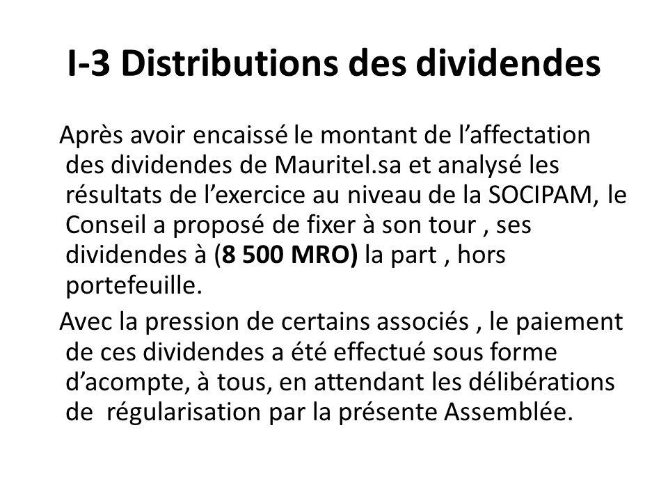 I-3 Distributions des dividendes Après avoir encaissé le montant de laffectation des dividendes de Mauritel.sa et analysé les résultats de lexercice au niveau de la SOCIPAM, le Conseil a proposé de fixer à son tour, ses dividendes à (8 500 MRO) la part, hors portefeuille.