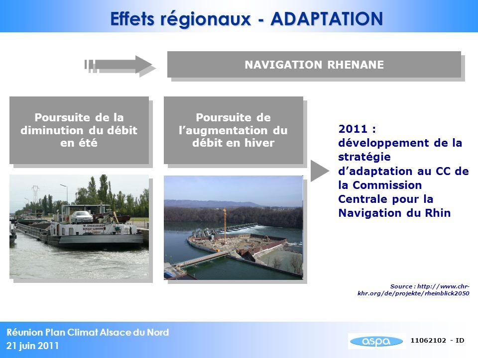 Réunion Plan Climat Alsace du Nord 21 juin 2011 11062102 - ID Effets régionaux - ADAPTATION NAVIGATION RHENANE Poursuite de la diminution du débit en