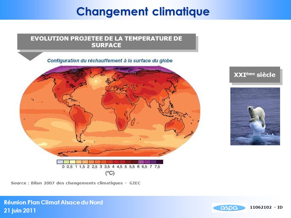 Réunion Plan Climat Alsace du Nord 21 juin 2011 11062102 - ID Changement climatique EVOLUTION PROJETEE DE LA TEMPERATURE DE SURFACE Source : Bilan 200