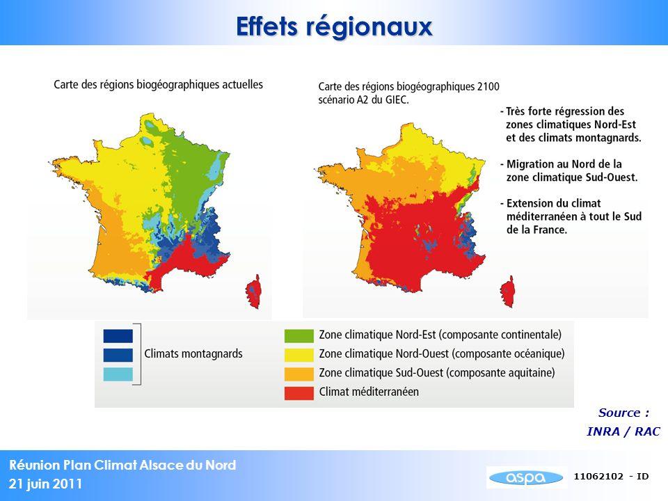 Réunion Plan Climat Alsace du Nord 21 juin 2011 11062102 - ID Quelques pistes dactions - Encourager le covoiturage (stationnement dédié, mise en relation..) - Préparer les zones urbaines aux modes doux (infrastructures…) - Organiser loffre de TC - Agir sur les vitesses en agglomération - ….