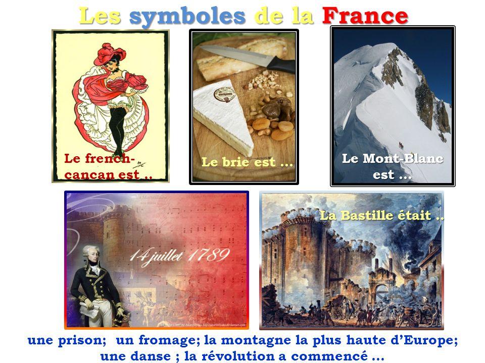 Les symboles de la France La Bastille était.. Le french- cancan est.. Le brie est … Le Mont-Blanc est … une prison; un fromage; la montagne la plus ha