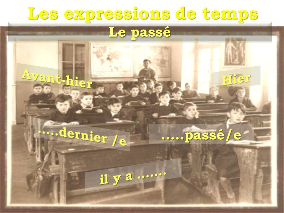 Les expressions de temps Le passé …..passé/e