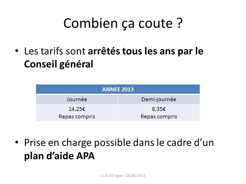 Combien ça coute ? Les tarifs sont arrêtés tous les ans par le Conseil général Prise en charge possible dans le cadre dun plan daide APA ANNEE 2013 Jo