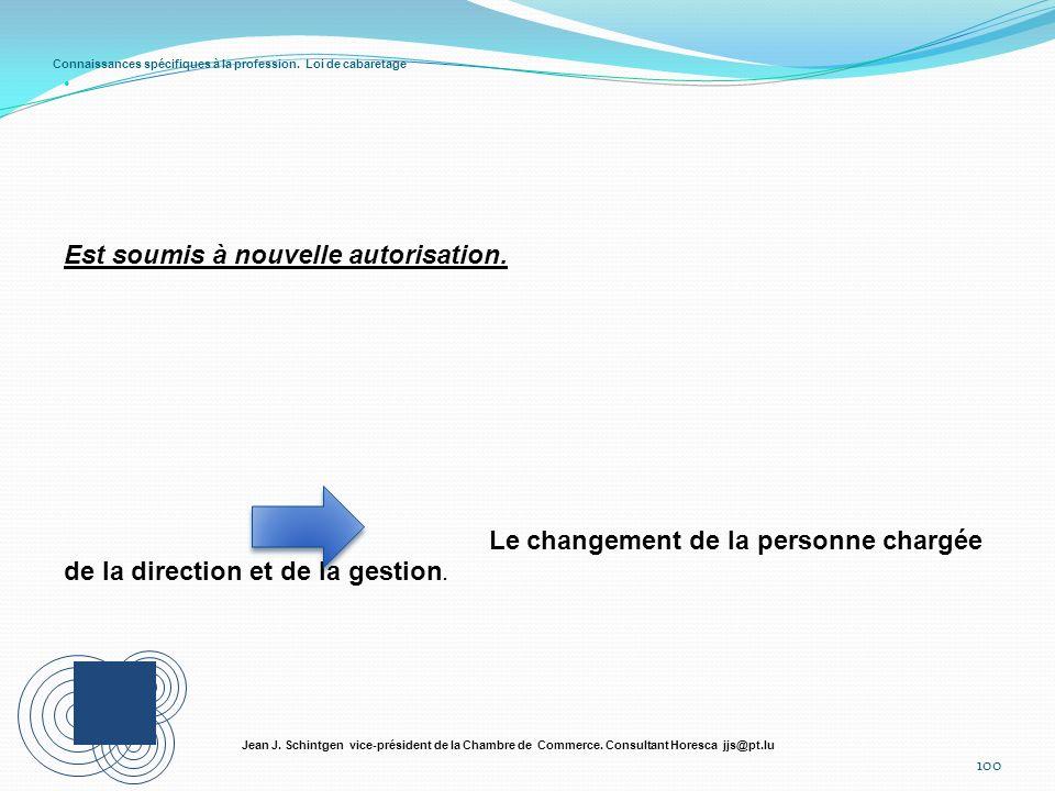 Connaissances spécifiques à la profession. Loi de cabaretage 100 Jean J. Schintgen vice-président de la Chambre de Commerce. Consultant Horesca jjs@pt