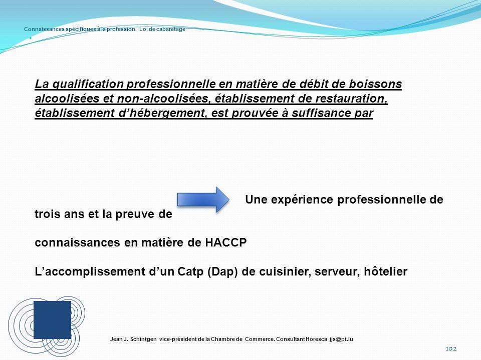 Connaissances spécifiques à la profession. Loi de cabaretage 102 Jean J. Schintgen vice-président de la Chambre de Commerce. Consultant Horesca jjs@pt