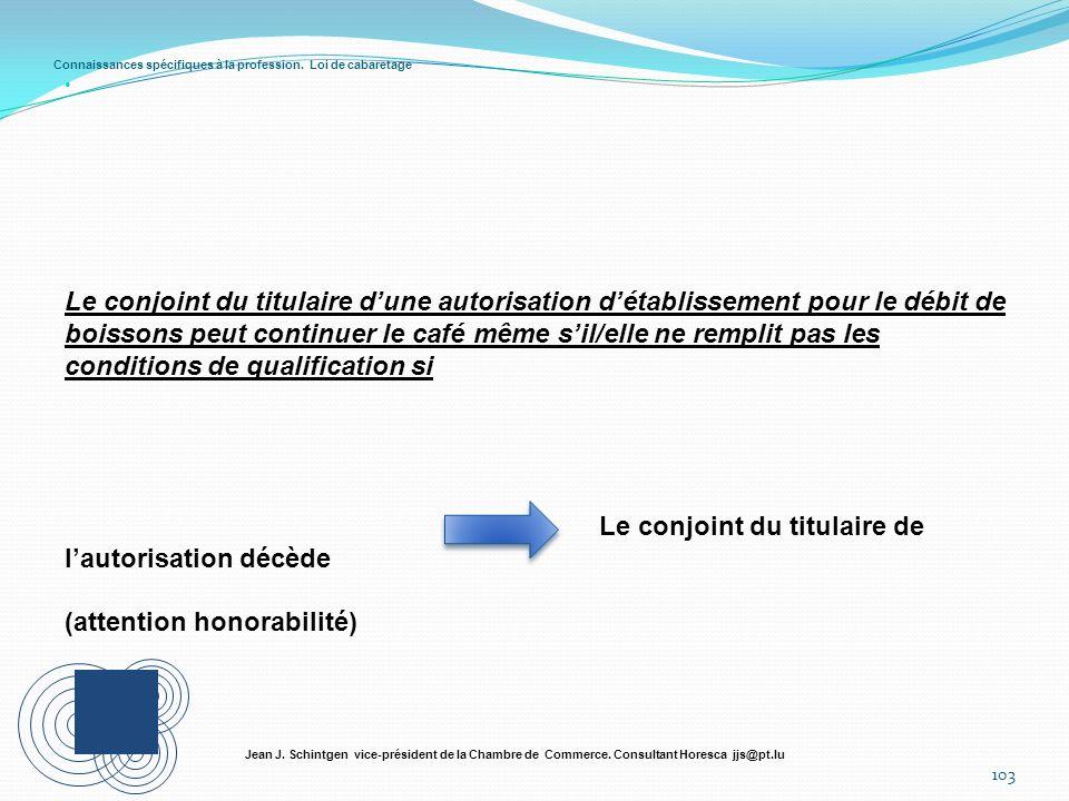 Connaissances spécifiques à la profession. Loi de cabaretage 103 Jean J. Schintgen vice-président de la Chambre de Commerce. Consultant Horesca jjs@pt