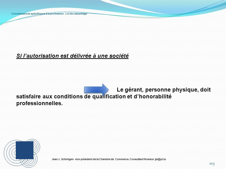 Connaissances spécifiques à la profession. Loi de cabaretage 105 Jean J. Schintgen vice-président de la Chambre de Commerce. Consultant Horesca jjs@pt