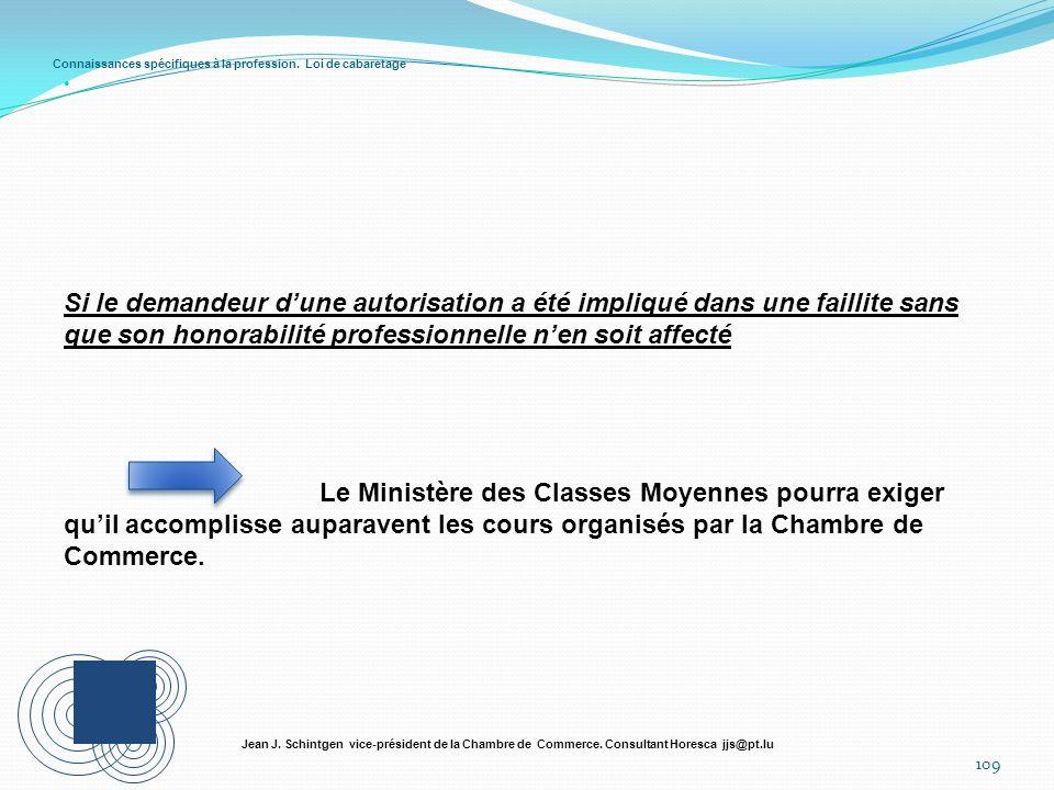 Connaissances spécifiques à la profession. Loi de cabaretage 109 Jean J. Schintgen vice-président de la Chambre de Commerce. Consultant Horesca jjs@pt